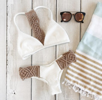 White Two-Piece Crochet Swimwear