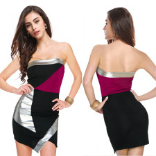 Sexy Strapless Contrast Irregular Mini Tube Dress