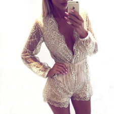 Long Sleeve V-Neck Sequins Rompers