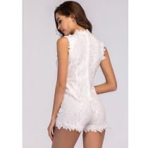 White Lace Sleeveless Cut Out Rompers
