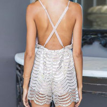 Hollow Out Straps Sequins Rompers