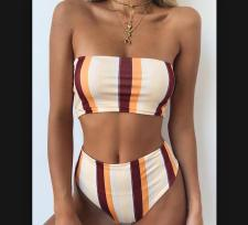 Wide Strippes Colorful Two-Piece Swimwear