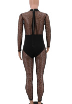 Long Sleeve Black Lace Bodycon Jumpsuit