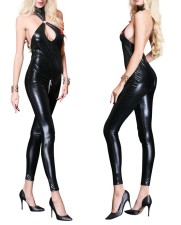 Black Leather One-Piece Lingerie