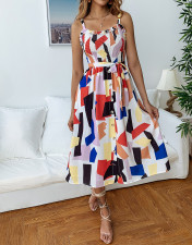 Colorful Straps A-line Dress with Belt
