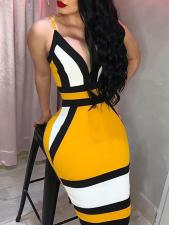 Block Color Straps Club Dress