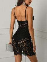 Black Lace Straps Club Dress