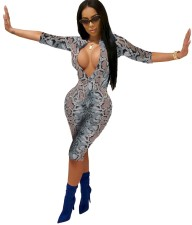 Snake Skin Sexy Knee-length Bodycon Jumpsuit