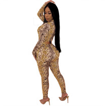 Snake Skin Sexy Bodycon Jumpsuit with Long Sleeves