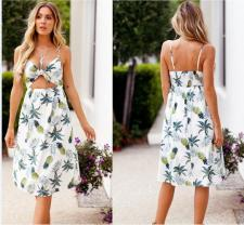 Print Straps Long Resort Dress