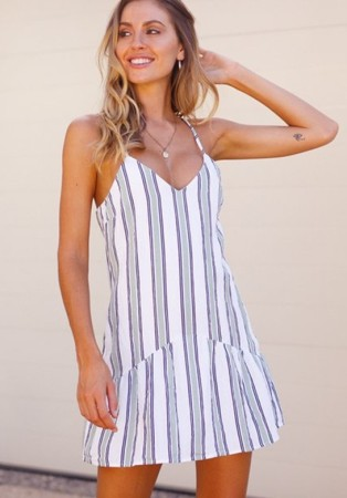 Print Strippes Straps Resort Dress