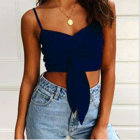 Sexy Tied Front Straps Crop Top