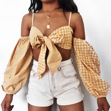 White and Yellow Straps Bra Top