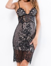Black Lace Sexy Straps Dress