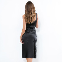 Black Silk Wide Straps Midnight Dress