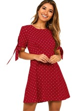 Casual A-Line Polka Dress with Short Sleeves