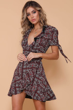 Casual Print Irregular Wrap Dress with Short Sleeves
