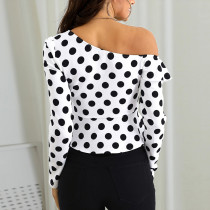 White and Black Polka Ruffle Top