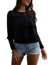 Lace Upper Long Sleeve Ruffle Blouse