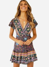 Short Sleeve Flower Wrap Dress