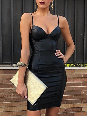 Black Straps Leather Dress