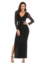 V-Neck Evening Dress with Mesh Sleeves