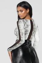 Snake Skin Sexy Long Sleeve Bodysuit