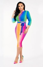 Multi-Color Bodycon Dress with 3/4 Sleeves