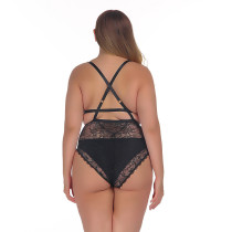 Plus Size Black Lace Teddy Lingerie