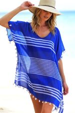 Blue Stripped Tassels Cover Up