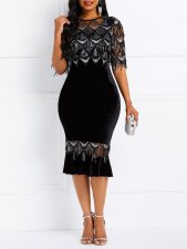 Black and Silver Sequins Mermaid Party Dress