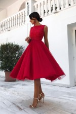 Red Lace Upper Sleeveless Prom Dress