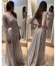 Open Back Sexy Long Sleeve Sequins Wedding Dress