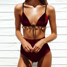 Two-Piece High Waist Velvet Swimwear