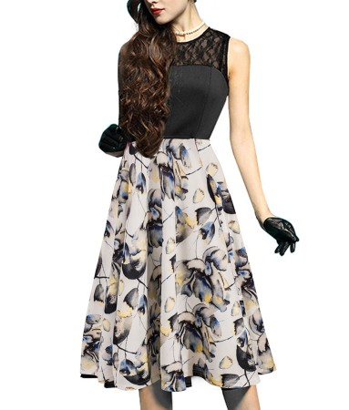 Lace Upper Sleeveless Vintage Floral Dress
