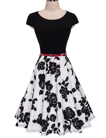 Short Sleeves Vintage Floral Dress