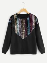 Black Sequins Long Sleeve Sweatshirt