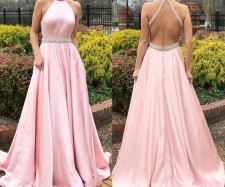 Open Back Pink Rhinestone Wedding Dress