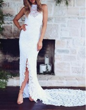 White Lace Sleeveless Sweep Wedding Dress