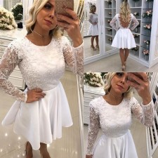 White Low Back Long Sleeve Bridemaid Dress