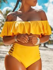 Two-Piece Off Shoulder High Waist Swimwear