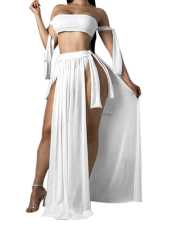 Two Pieces Tube Top and Maxi Skirt with Side Split