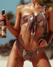 Snake Skin Two-Piece One Shoulder Swimwear
