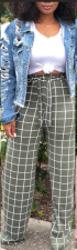 Wide Leg Paid Pants with Belt