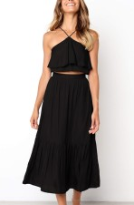 Sexy and Chic Halter Crop Top and Maxi Skirt