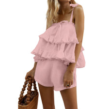 Romantic Straps Ruffles Top and Shorts