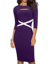 3/4 Sleeves Cut Out Midi Dress