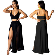Sexy Straps Crop Top and High Cut Maxi Skirt