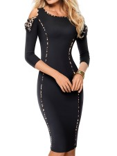 Open Shoulder Black 3/4 Sleeves Pencil Dress