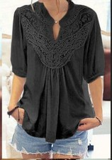 Lace Upper Boho Top with Mid Sleeves